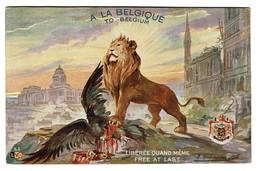 Carte Patriotique Illustrée - A La BELGIQUE - Libérée Quand Même - Free At Last - Lion - Aigle - Comité Belge 2 Scans - Patriottisch