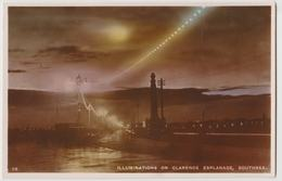 Portsmouth Hampshire Rppc Illuminations On Clarence Esplanade Southsea Postcard - Portsmouth