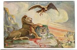 Carte Patriotique Illustrée - A La BELGIQUE - Blessée Mais Non Mourante - Lion - Aigle - Comité Belge 2 Scans - Patriottisch