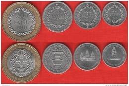 Cambodia Set Of 4 Coins: 50 - 500 Riels 1994 UNC - Camboya