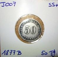 *** (J007) 50 Pfennig 1877 B *SS* (SILBER - ARGENT - SILVER) DEUTSCHLAND Deutsches Reich - [ 2] 1871-1918: Deutsches Kaiserreich