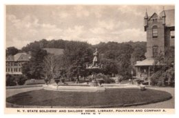 New York  Bath , Soldier's And Sailor's Home , Library , Fountain , Company A - Other