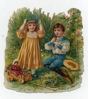 CHROMO Gaufrée Découpis Chocolat Poulain Couple Enfants Fille Garçon Jouets Poupée Chariot En Bois Musique Flûte - Poulain