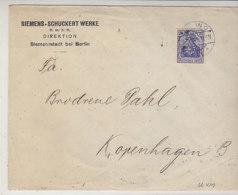 Lochung (Perfin) Der Siemens-Schuckert .. Aus Siemensstadt Bei BERLIN 14.11.16 Nach Kopenhagen / Zensur - Lettres & Documents