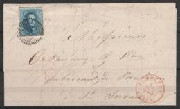 L. Affr. N°7 P65 Càd JEMMAPES /4 MARS 1856 Pour Fabricant De Porcelaines à ST-SERVAIS (au Dos: Càd NAMUR) - 1851-1857 Medaillons (6/8)