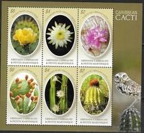 GRENADA CARRIACOU AND PETITE MARTINIQUE, 2019, MNH, CACTI, OWLS, SHEETLET - Cactus