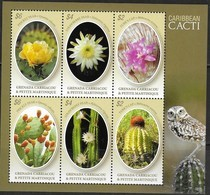 GRENADA CARRIACOU AND PETITE MARTINIQUE, 2019, MNH, CACTI, OWLS, SHEETLET - Cactusses