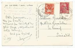 GANDON 5FR ROSE SEUL CARTE SABLES 1948 TAXE 10FR LE RAINCY TIMBRE INTERDIT DEMONETISE LE 1.4.1947 - 1945-54 Marianne Of Gandon