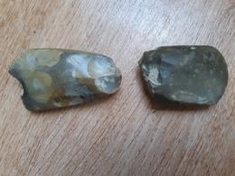 Lot De 2 Haches Polies En Silex Du Néolithique, Bardouville (76) - Arqueología