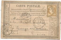 CERES 15C SEUL CARTE PRECURSEUR PRIVEE GRANDE CHARTREUSE CONVOYEUR LYON A GRENOBLE 1877 POUR SUISSE - Postmark Collection (Covers)