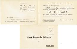 Invitation Au Bal De Gala De La Croix Rouge De Fleurus (19 Février 1949) Avec L'orchestre De Jack Arbain - Old Paper