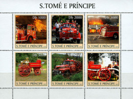 Sao Tome 2003 Old Fire Engines - Sao Tome And Principe