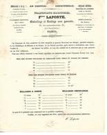 """Tarif Transports, Déménagements, Emballage 1840 / 75 PARIS Rue Grange-Batelière / LAPORTE """" Au Postillon De Lonjumeau"""" - France"""