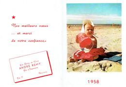 Petit Calendrier 1958 Avec Les Voeux Des Cartes De Visite Et Ets D'Imprimerie André Remy à Beauraing - Calendriers