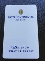 Hotelkarte Room Key Keycard Clef De Hotel Tarjeta Hotel  INTERCONTINENTAL ABU DHABI - Telefonkarten