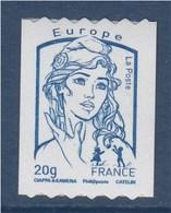= Marianne Et La Jeunesse 2013 Autocollant X 1 Lettre Europe -20g N°864 Roulette 033 à Droite Sans Coupure Phosphore - Coil Stamps