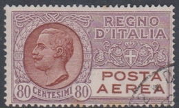 Italy PA 3A 1928 80c Brown Violet Air Mail, Used - 1900-44 Vittorio Emanuele III