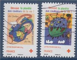 = Croix Rouge Adhésif N°237 Et 238 Oblitérés 2 Timbres (ex 4306 Et 4307) Dessine La Planète - Variedades Y Curiosidades