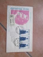 1958 FDC Venetia Raccomandata Con N.3 Pezzi Elenora DUSE Arrivo Al Verso - 6. 1946-.. Republik