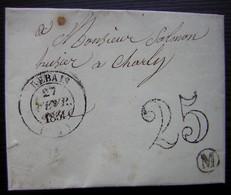Rebais 1854 (Seine Et Marne) Lettre Pour Charly, Non Affranchie, Taxée 25 Avec Boite Rurale M - Postmark Collection (Covers)