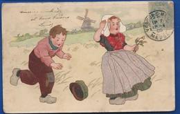 Jeune Couple D'Enfants  Hollandais       écrite En 1906 - Szenen & Landschaften
