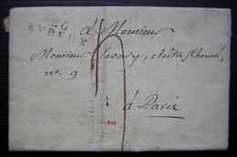 Evreux 1808 Marque 26 / EVREUX Sur Une Lettre Pour Paris, Date En Rouge Au Revers - 1801-1848: Precursors XIX