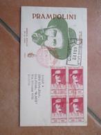 27.4.1959 Nascita Camillo PRAMPOLINI Reggio Emilia Annullo Speciale ROSSO Su Quartina - 1946-60: Marcofilia