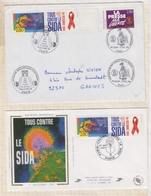 9/76 Premier Jour FDC 1994 TOUS CONTRE LE SIDA Lot De 2 - 1990-1999
