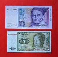 GERMANY 5 DEUTSCHE MARK 1980 / 10 DEUTSCHE MARK 1993 AUNCIRCULATED BANKNOTES. BILLETS. ALLEMAGNE. - [ 7] 1949-… : FRG - Fed. Rep. Of Germany