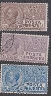 Italy PN 1-3  1913 Pneumatic Post, Used - 1900-44 Vittorio Emanuele III