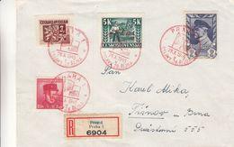 Tchècoslovaquie - Lettre Recom De 1945 - Oblit Spéciale Praha - Exp Vers Tisnov - - Tschechoslowakei/CSSR