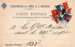 """CP -  """" Correspondance Des Armées De La République""""-- 7 Drapeaux- - Marcophilie (Lettres)"""