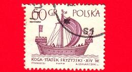 """POLONIA - Usato - 1965 - Imbarcazione - Barche A Vela - Frisone """"Kogge"""" - 60 - 1944-.... Repubblica"""