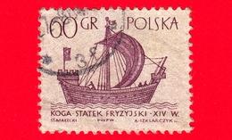 """POLONIA - Usato - 1963 - Imbarcazione - Barche A Vela - Frisone """"Kogge"""" - 60 - 1944-.... Repubblica"""