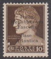 Italy-Italian Social Republic 1943 Overprinted Base Atlantica S 6, Mint Never Hinged - 4. 1944-45 Social Republic