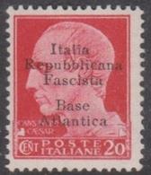 Italy-Italian Social Republic 1943 Overprinted Base Atlantica S 8, Mint Never Hinged - 4. 1944-45 Social Republic