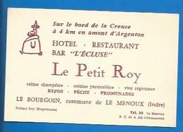"""36 - LE MENOUX - LE BOURGOIN - PUBLICITÉ ANCIENNE - RESTAURANT """"LE PETIT ROY""""- BAR """" L'ÉCLUSE"""" - TEL 30 - - Frankreich"""
