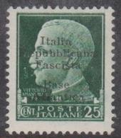 Italy-Italian Social Republic 1944 Overprinted Base Atlantica S 27, 25c Green, Mint Hinged - 4. 1944-45 Social Republic