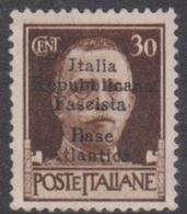 Italy-Italian Social Republic 1944 Overprinted Base Atlantica S 28, 30c Brown, Mint Hinged - 4. 1944-45 Social Republic