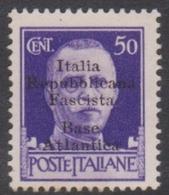 Italy-Italian Social Republic 1944 Overprinted Base Atlantica S 29, 50c Violet, Mint Hinged - 4. 1944-45 Social Republic