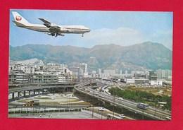 CARTOLINA NV HONG KONG - View Of Plane Landing From Lung Tseung Road - 10 X 15 - Cina (Hong Kong)