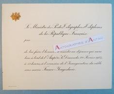 1937 Carton Vierge Invitation Déjeuner à Bord De L'AMPERE Inauguration Câble Sous-marin France Yougoslavie Ministre - Documents Historiques