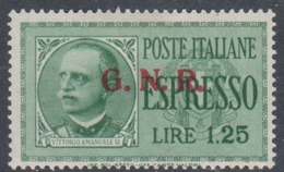 Italy-Italian Social Republic E 19 1943 Special Delivery Stamp,1.25 Lire Green, Mint Hinged - 4. 1944-45 Social Republic