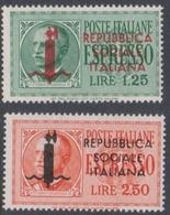 Italy-Italian Social Republic E 21-22 1944 Special Delivery, Mint Hinged - 4. 1944-45 Social Republic