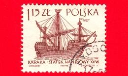"""POLONIA - Usato - 1965 - Imbarcazione - Barche A Vela -  15 ° Secolo """"Caraca"""" - 1.15 - 1944-.... Repubblica"""