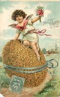 JOYEUSES PÂQUES - Enfant Et œuf Fleuri (carte Gaufrée), Vendue En L'état. - Pâques