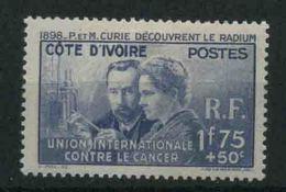 1938 Costa D'Avorio P.e M. Curie, Serie Completa Nuova (*) Linguellata - Costa D'Avorio (1892-1944)
