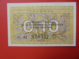 LITUANIE 0,10 TALONAS 1991 PEU CIRCULER/NEUF - Litouwen