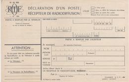 ORTF - Déclaration D'un Poste Récepteur De Radiodiffusion - Télévision - France