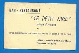 """06 - LIBRE - BREIL-SUR-ROYA - PUBLICITÉ ANCIENNE - RESTAURANT """" LE PETIT NICE"""" - """"CHEZ ANGELO"""" - Breil-sur-Roya"""